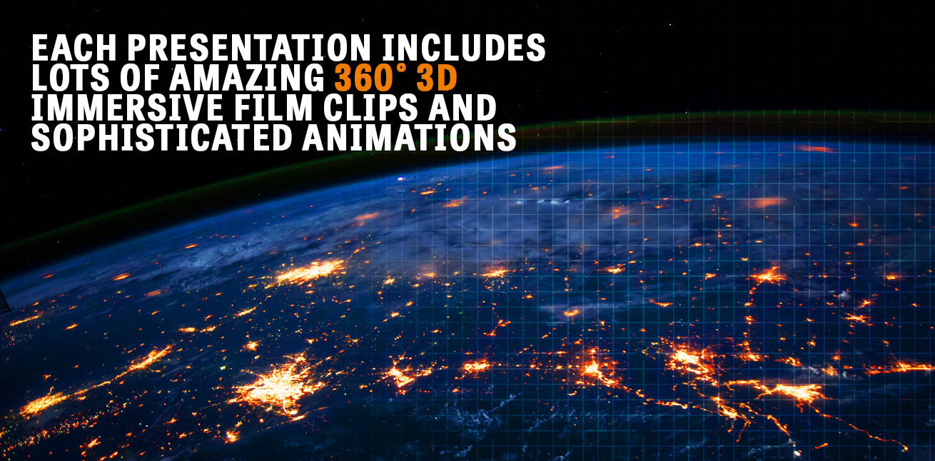 Each presentation includes lots of amazing 360° 3D immersive film clips and sophisticated animations